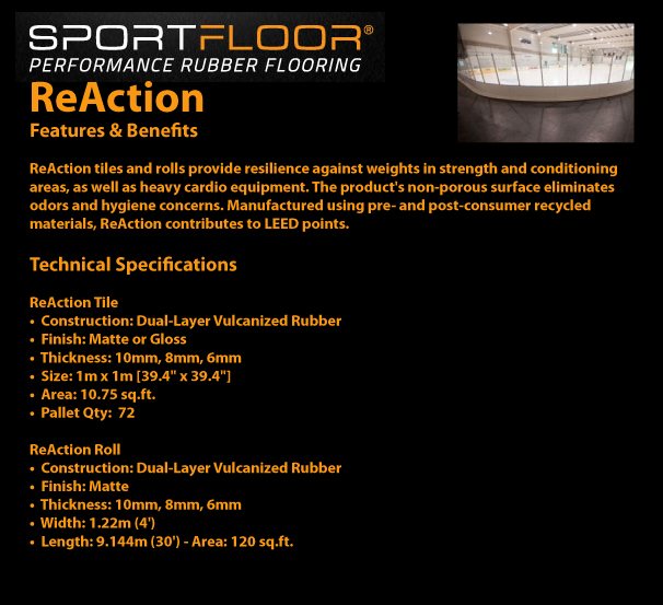 SPORTFLOOR - ReAction Features and Benefits / Technical Specifications